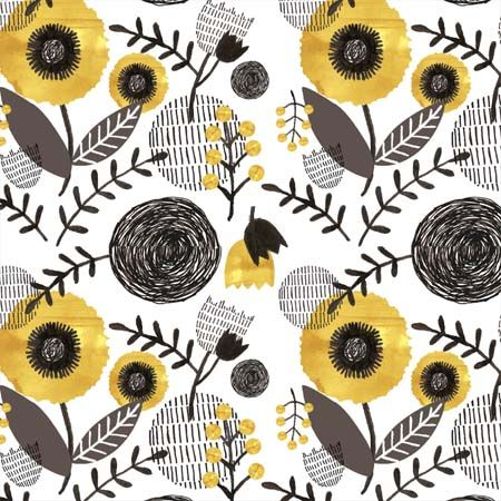 Alice Newman, modern floral, pattern, texture, design, yellow and grey, print, lino, line, colour, surface, repeat