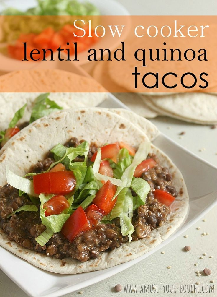 These slow cooker lentil quinoa tacos are a delicious vegan meal for vegans, vegetarians and meat-eaters alike! Plus they require next to no effort!