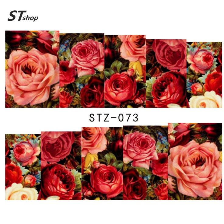 Buy 1sheets Hot Designs Fashion Charm Flower Colorful Designs Tips Nail Art Stickers Water Transfer Decals Manicure Tools STZ-073 at JacLauren.com