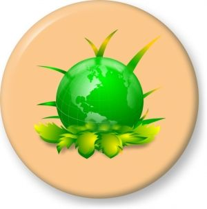 Ecological planet vector illustration - Button Badge - Brooch - Gift