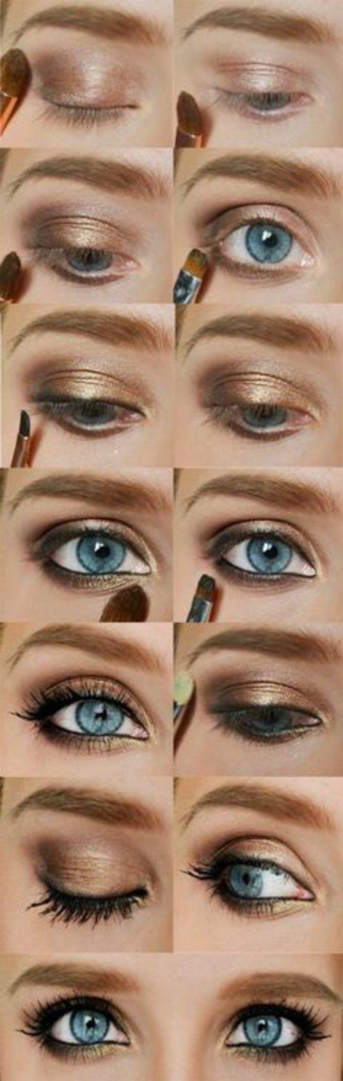 maquillage rose doré pour yeux bleus