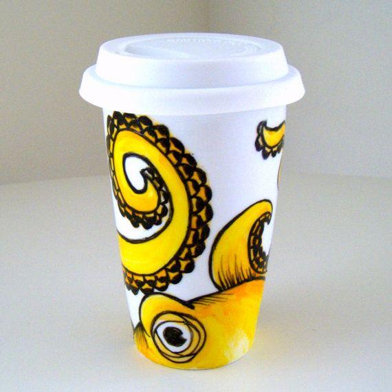 Yellow Octopus Ceramic Travel Mug Sea Creature Kraken by sewZinski, $35.00