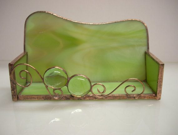 Stained Glass Green Business Card Holder by GlassicArtistry, $20.00