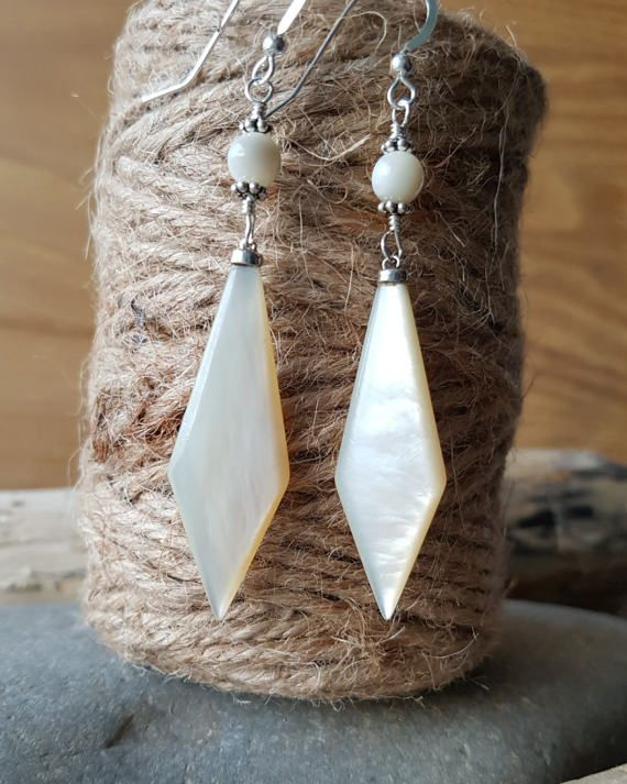 Long Art Deco Mother Of Pearl Earrings Antique Mother of