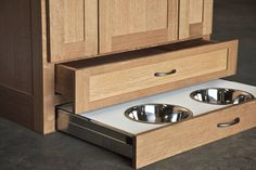 Kitchen Design Idea - Toe Kick Drawers // They make a great pet food station.