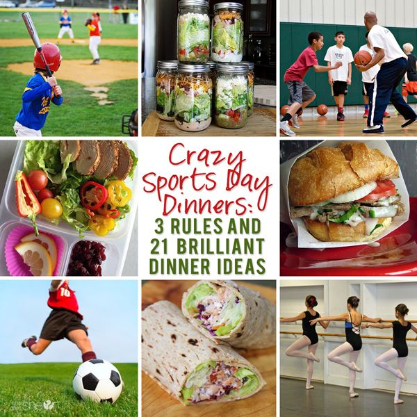 Crazy Sports Day Dinners: 3 Rules and 21 easy dinner ideas!!  howdoesshe.com