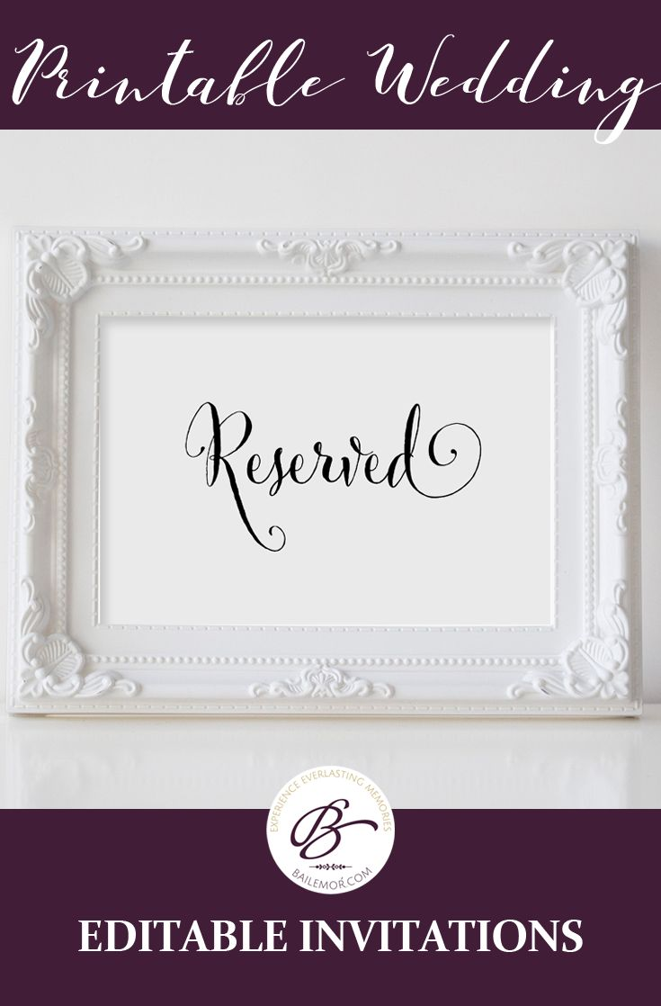 Printable wedding table reserved sign, instant download.