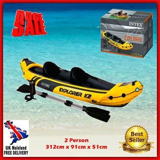 2 person Kayak Inflatable Ocean Canoe Boat Raft Lake Sea Pump Paddle Oars Seat