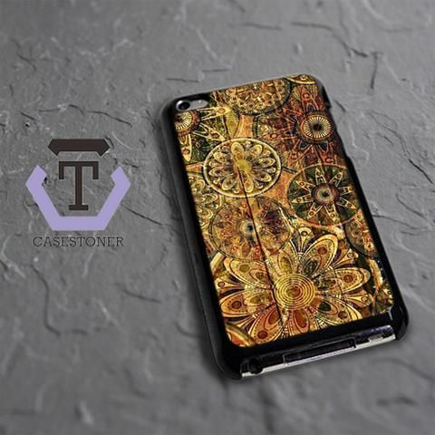 Wood Pattern Floral iPod 4 Black Case