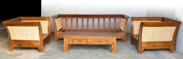 Teak rattan sofa and chairs