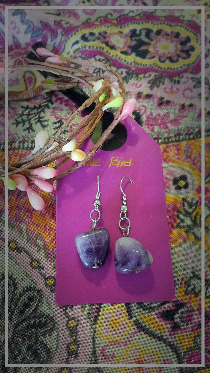 Violet heart earrings by BlueBirdjewel on Etsy