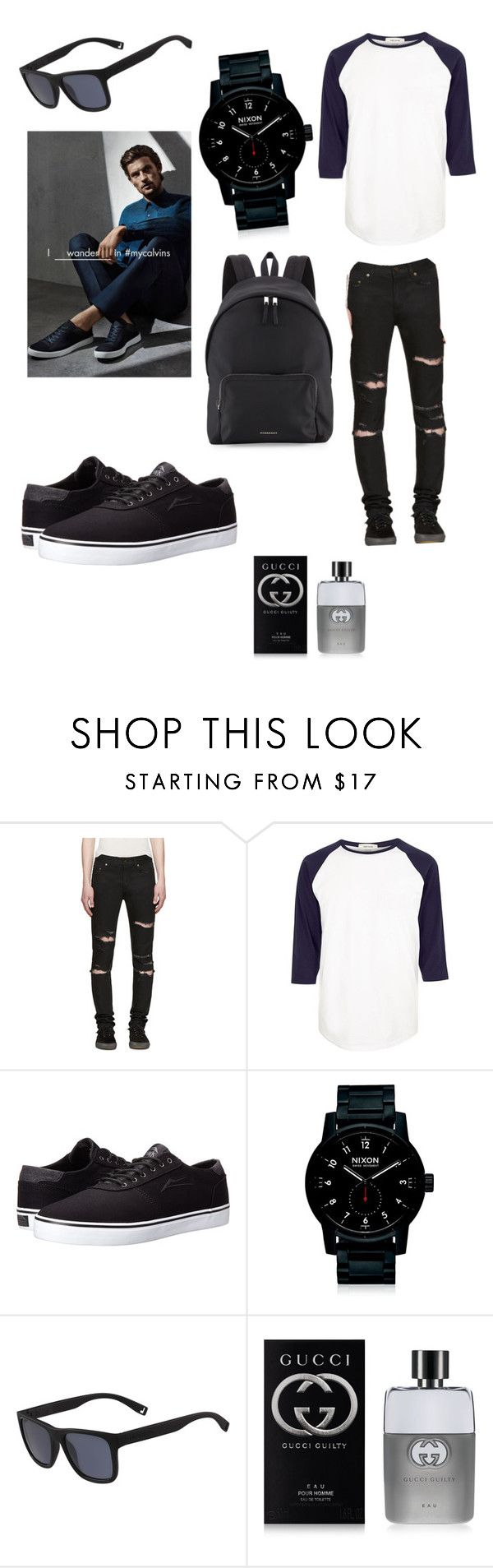 """Untitled #61"" by benhemmings on Polyvore featuring Yves Saint Laurent, River Island, Lakai, Nixon, Lacoste, Gucci, Burberry, Calvin Klein, men's fashion and menswear"