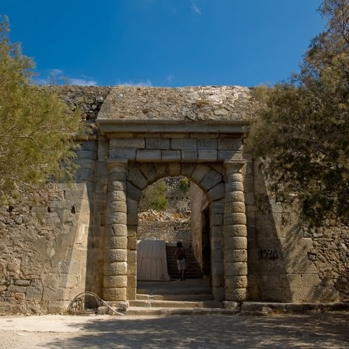 The Gate of the Leper Colony in Spinalonga, Elounda, Agios Nikolaos, Lassithi, Crete (The colony was the last one in Europe. It was closed in 1957)