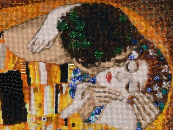 The Kiss by Gustav Klimt - Symbolism - Art Nouveau - Lovers embrace art - Completed cross stitch - Couples lovers kiss