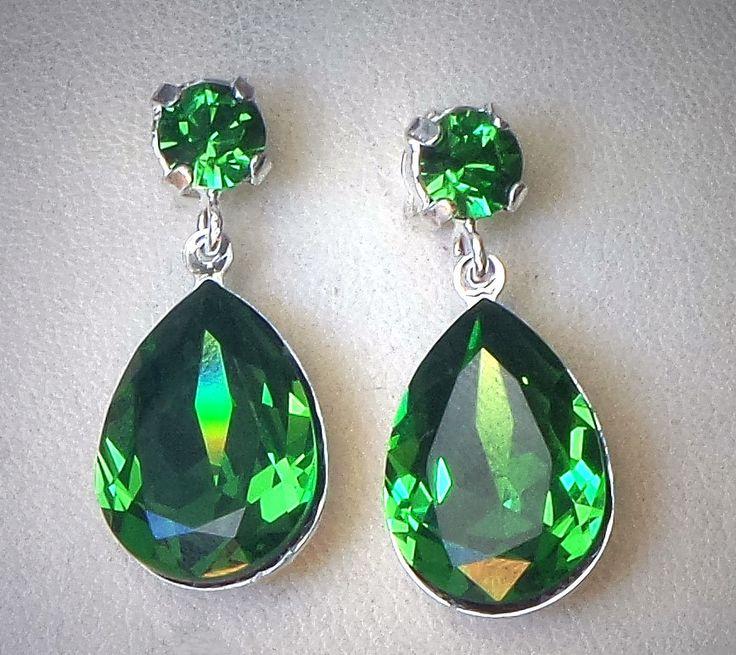 Angeline Jolie inspired Swarovski crystal fern green 18X13mm  fancy pear stone stud & drop earrings, rhodium silver plated,rich green colour by CrystallizedByLena on Etsy
