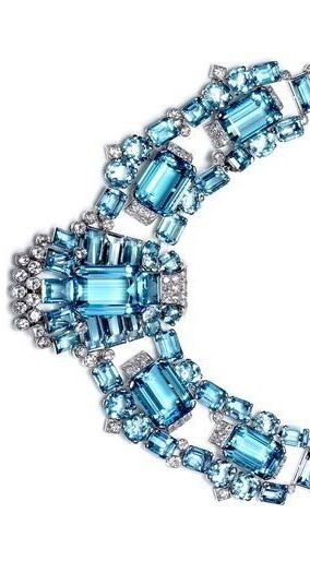 CARTIER Art Dec Aquamarine & Diamond Necklace- oh my birthstone done to over the top gorgeousness by Cartier!