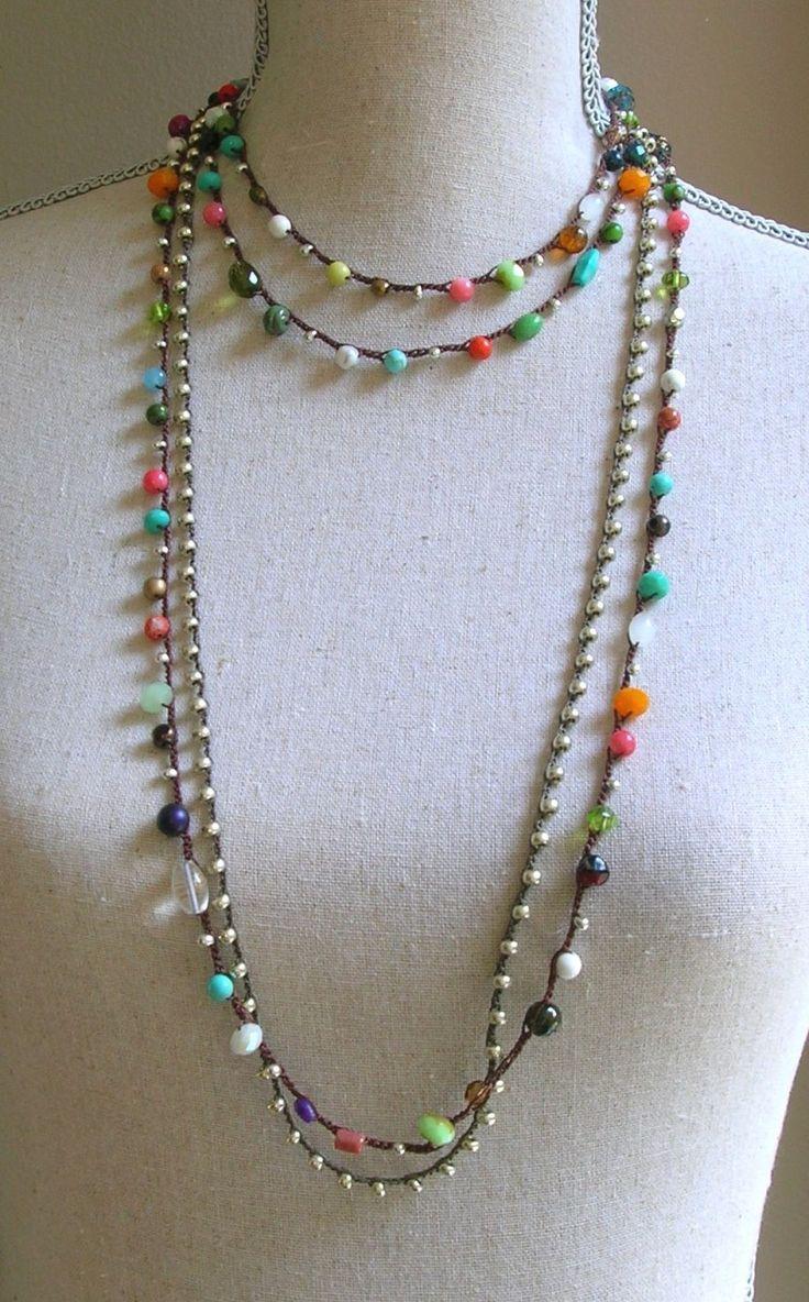 Gypsy Boho crochet wrap bracelet Bohemian crochet by 3DivasStudio