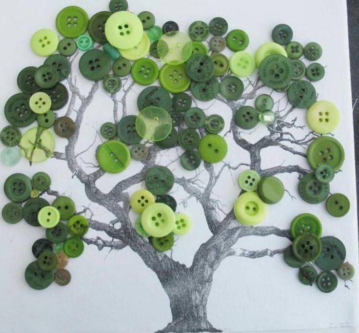 открытка дерево и пуговицы