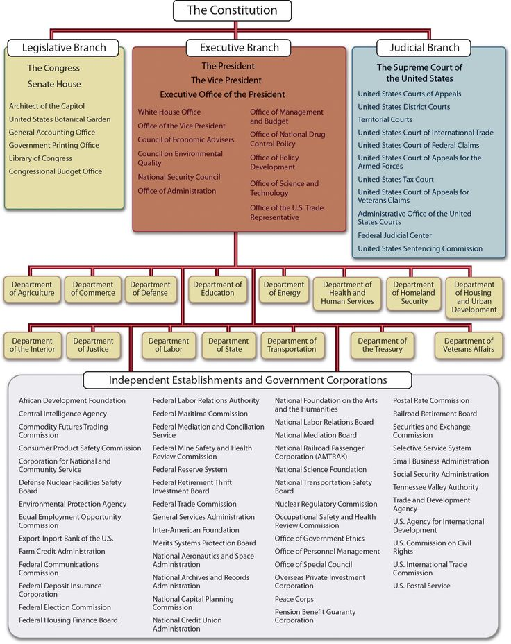 Figure showing the hierarchy of the U.S. government as an