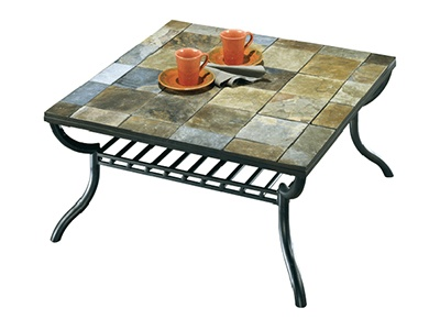 Slate Tile Top Coffee Table With Paper Basket Underneath From Ashley