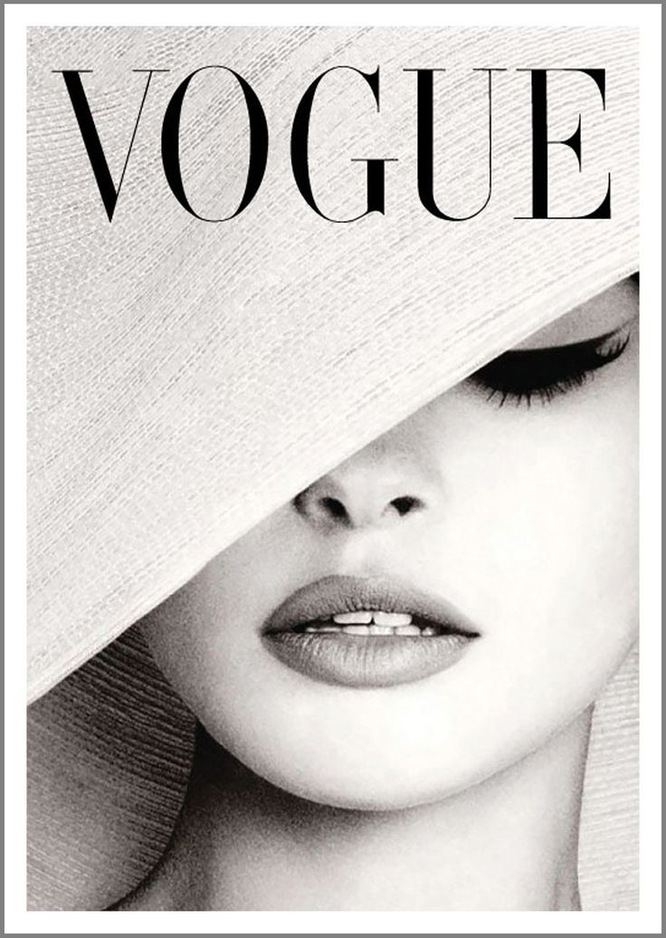 VOGUE COVER POSTER: Vintage Magazine Artwork, White Hat Print