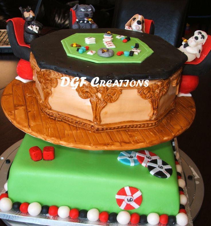 Custom Made Poker Theme 40th Birthday Cake, With Hand Made