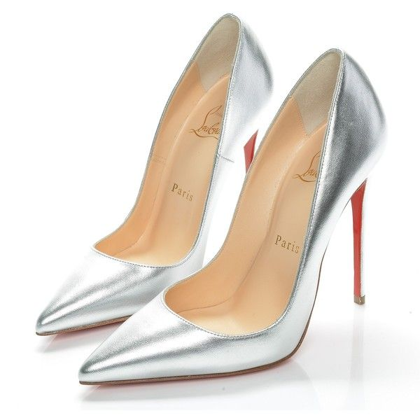 CHRISTIAN LOUBOUTIN Metallic Kidskin So Kate 120 Pumps 35.5 Silver ❤ liked on Polyvore featuring shoes, pumps, red pointed-toe pumps, stiletto pumps, high heel pumps, silver pointed toe pumps and christian louboutin pumps