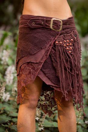 Dschungel-Rock mit Taschen (Purpley/Brown)-Festival Clothing Gypsy Festival Goa Boho Fairy Hippie Boho Wrap mit Gürtel und Taschen