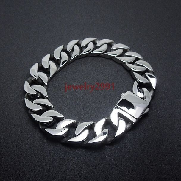 "Retro Men Jewelry Accessories Cool stainless Steel Link Chain curb Bracelet 8.6"" #Unbranded #Chain"