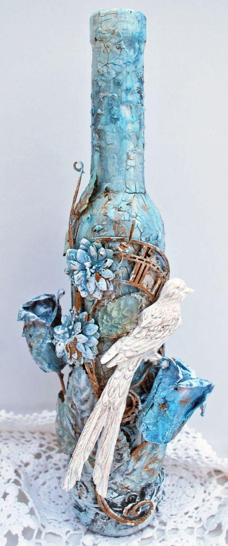♥♥♥ Декор бутылок своими руками: фото, дизайн (2017), мастер-классы по декору свадебных бутылок, страна мастеров по декору бутылок шпагатом, лентами, кожей.