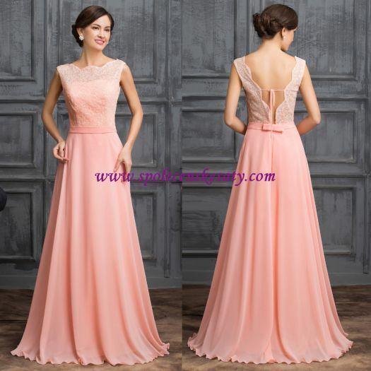 Luxusní růžové lososové dlouhé společenské plesové šaty vel. L XL 42 44 č. L164 - Náhled 1 / 5
