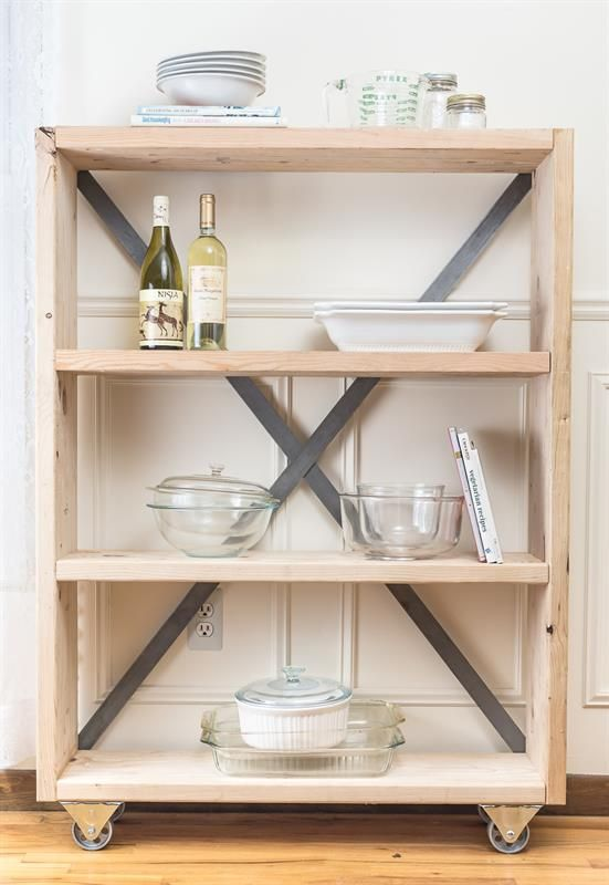 Are you looking for a ton of storage in a small space? This is the perfect farmhouse industrial bookshelf for any room. Use it for extra storage in your kitchen, or for added flair in your dining room or bedroom. This narrow shelf has minimal steps for a huge impact in your home.
