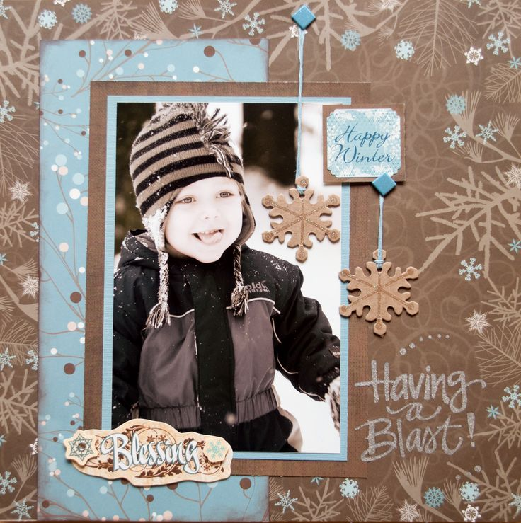 Sweet Winter Layout...with snowflakes.