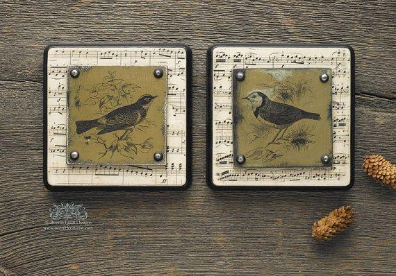 Vintage vogel Print Set, Cottage chique Wall Decor, Mixed mediakunst, lied vogel kunst, ingelijste kunst verzameling, vogel Print verzameling, Shabby chique stijl Decor