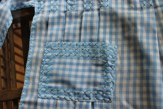 Vintage Half Apron Vintage Blue Gingham Check by AmeliesFarmhouse, $10.00
