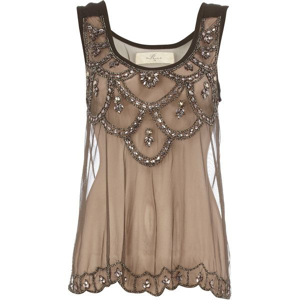 Black embellished mesh vest, found on polyvore.com