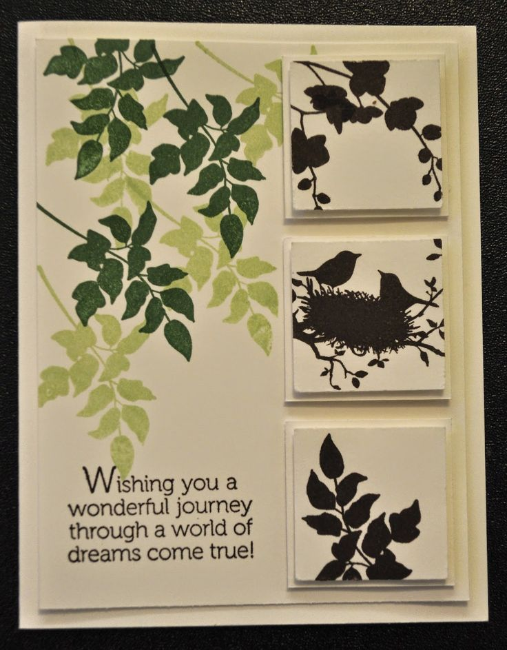Idyllwilde Studios. Stampin' Up World of Dreams clean and simple card using silhouette stamps.