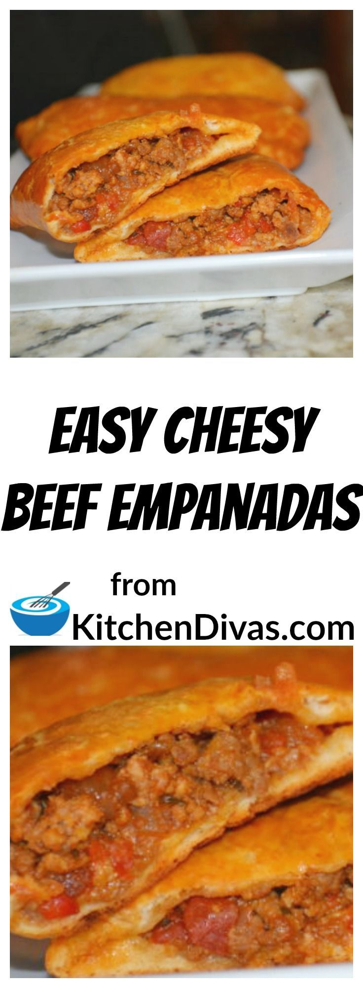 Easy Cheesy Beef Empanadas are delicious!  Refrigerated biscuits make things so much easier!  #empanada #recipe