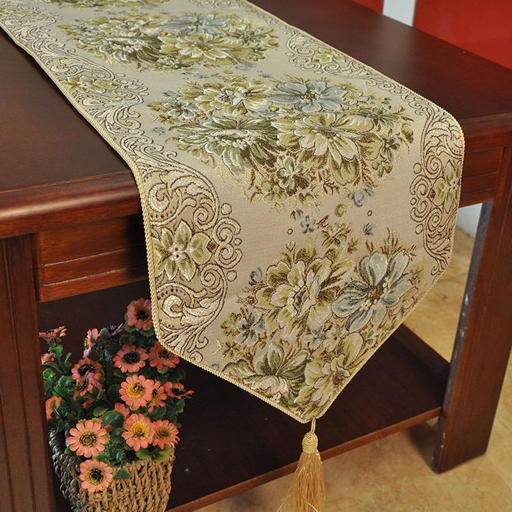 Classic Embroidery Tassel Dining Table Runners Hotel Bed Coffee Table Runners