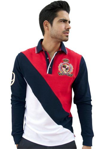 Absolute Rebellion Regatta - Men's Polo Long Sleeve - Polo Theme - Embroidery - Red/Navy/White - 100% Cotton - http://www.amazon.com/dp/B00HCAFGR8/ref=cm_sw_r_pi_dp_GBZRsb188ZJPFMKX