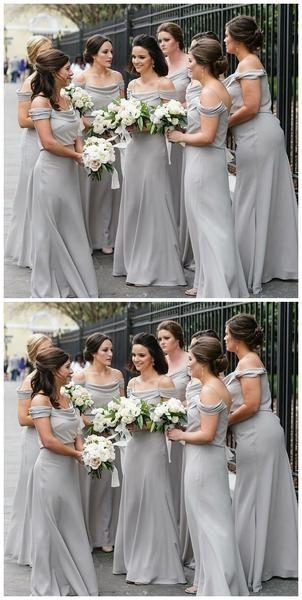 Off Shoulder Spahgetti Straps Grey Chiffon Long Bridesmaid Dresses Online, WG210