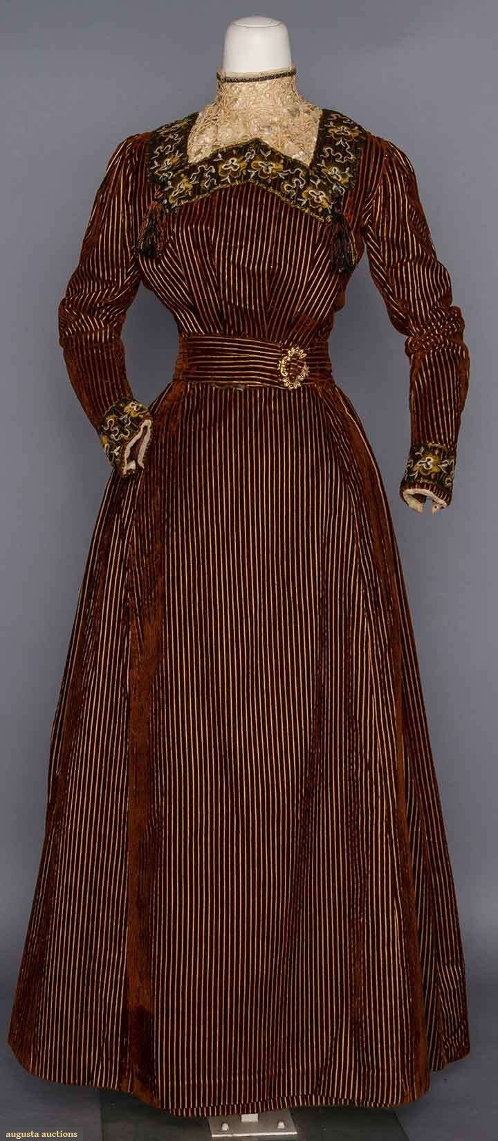 VELVET AFTERNOON DRESS, LATE 1890s | 2-piece, rusty brown velvet corduroy w/ yellow stripes, black net trim w/ cream & gold embroidery, high inset lace dicky, cut steel on gold metal buckle at the waist