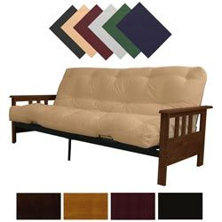 @Overstock - Add an additional place to sit and sleep with this versatile futon frame and mattress set. This customizable set allows you to choose the mattress and frame combination that best suits your color scheme. A sturdy hinge makes this futon easy to convert.http://www.overstock.com/Home-Garden/Provo-Full-Mission-style-Frame-Mattress-Futon-Set/4291317/product.html?CID=214117 $319.99