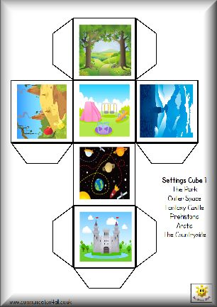 Great tools for teaching story writing, including printable story cubes