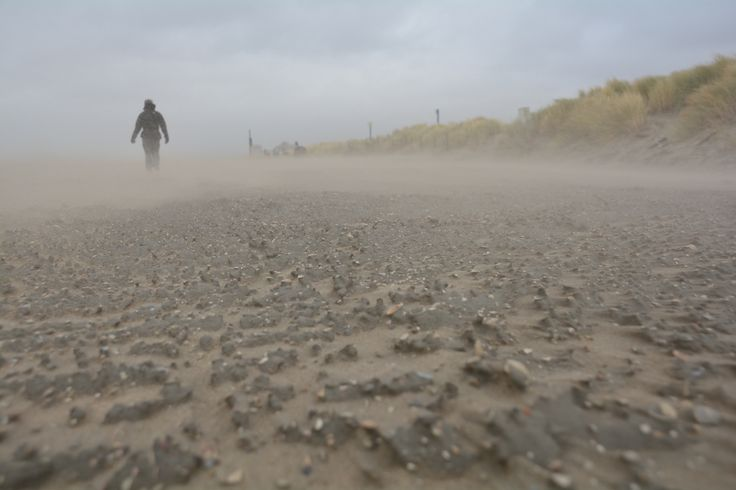 Beach, sand, storm, windy, hills, the Hague, Netherlands