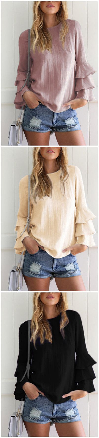 Round Neck Flared Sleeves Blouse