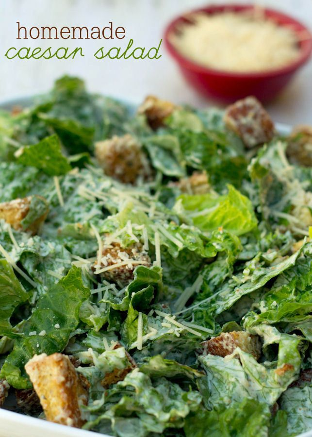 Delicious Homemade Caesar Salad with Homemade Croutons recipe on { lilluna.com } #salad