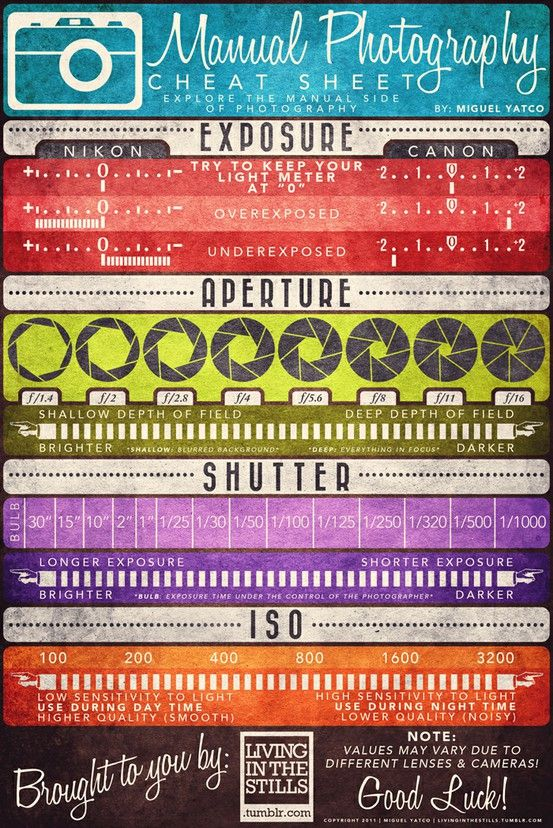 easy photography cheat sheet for SLR and digital SLR cameras