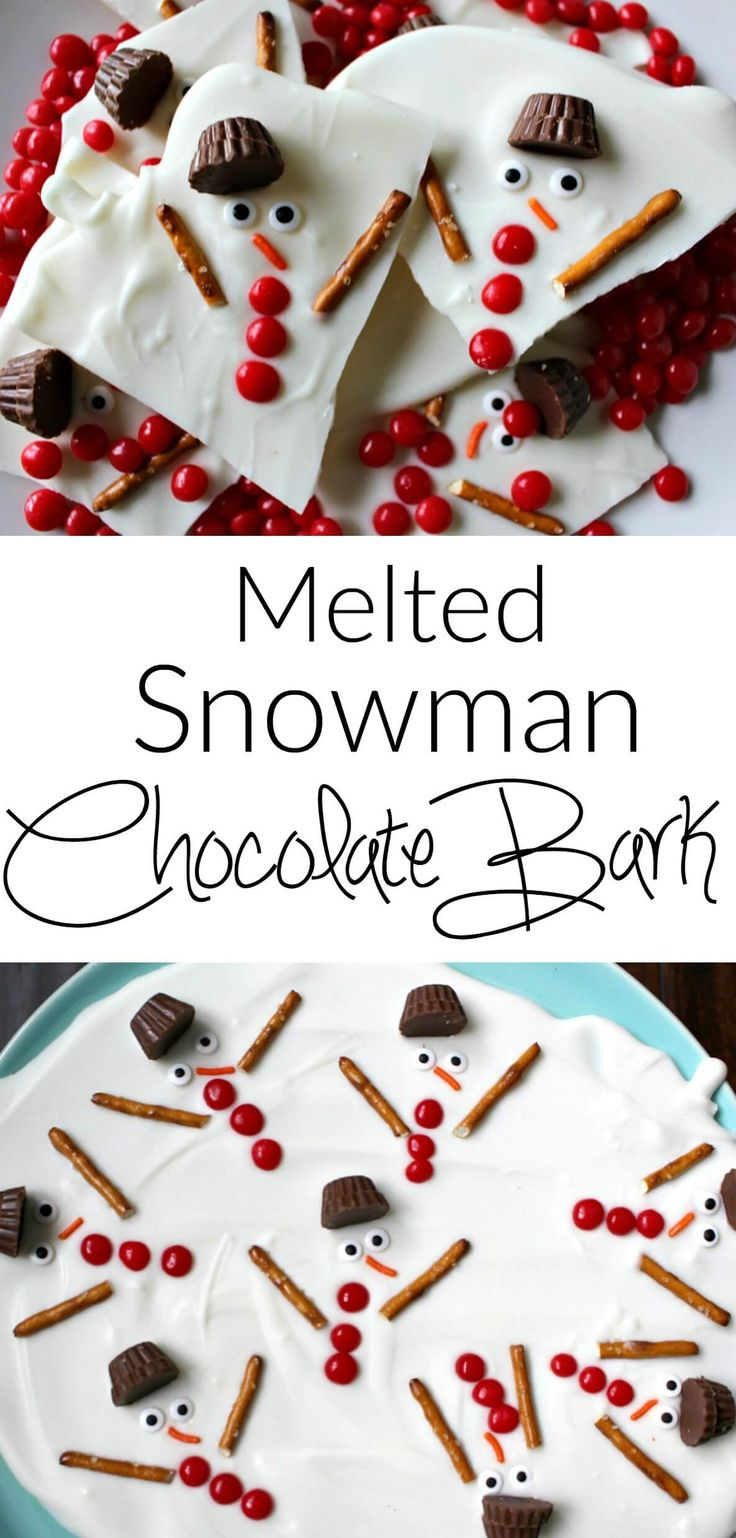 Melted snowman chocolate bark - a super easy holiday dessert. A great option for Christmas cookie swap parties! #holiday #bark #dessert #easy