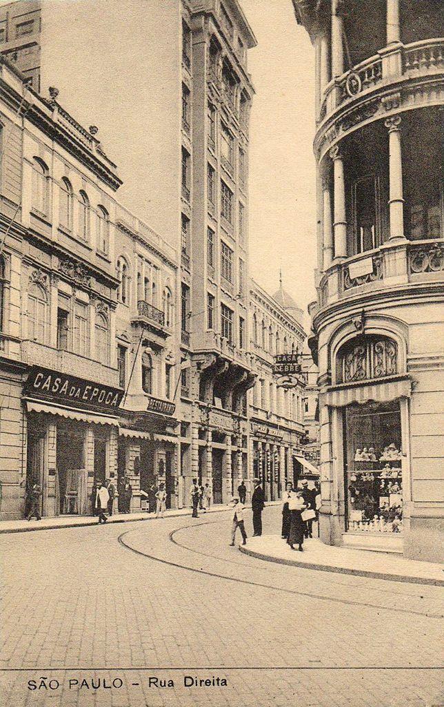 Rua Direita com Rua 15 de Novembro na década de 1920. Casa Lebre
